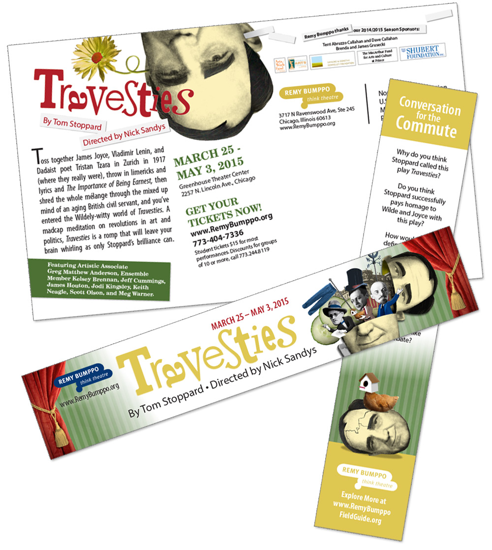 Remy Bumppo: Travesties postcard and bookmark (by Grab Bag Media)